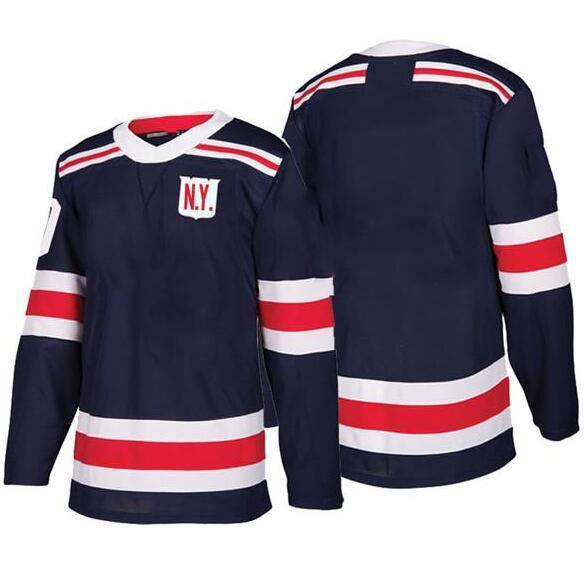 Ucuz Yeni Marka Erkek New York Rangers 10 J.T. Miller 13 Kevin Hayes 17 Jesper Hızlı Boş Donanma 2018 Kış Klasik Buz Hokeyi Formaları