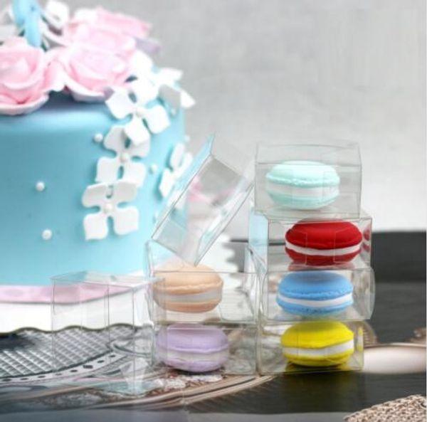 500 шт. / Лот Быстрая доставка 5 см Прозрачная пластиковая коробка Macaron для 1 Macarons Bomboniere Favors Коробки конфет