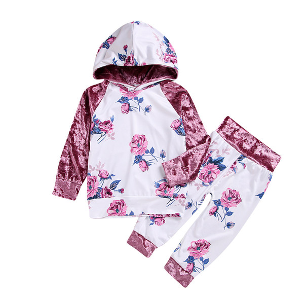 Kid girls clothes pink flower hooded velvet outfits tops+pants 2-piece set baby clothing kids casual clothes preppy suit boutique