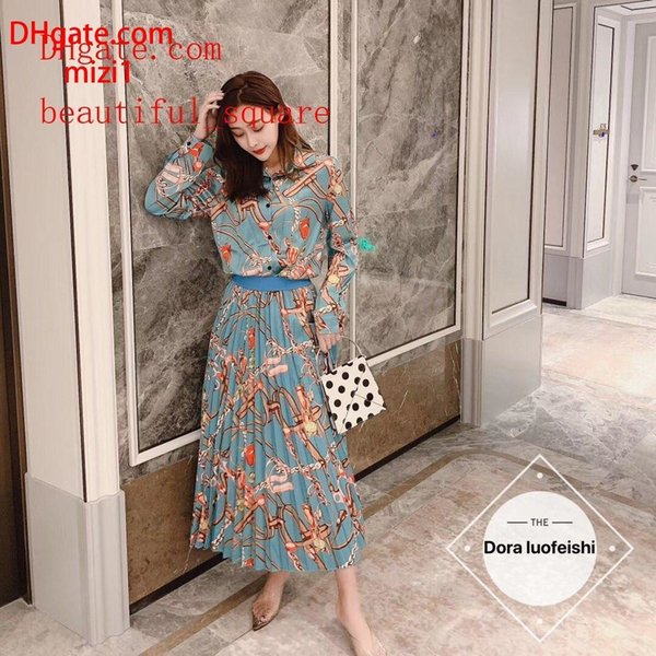Women skirts 2 piece suit Sweet Print Rose Set Fashion Cotton Tops Long A-line printed tops 2019 girls Spring Summer Blouses Skirts Suit