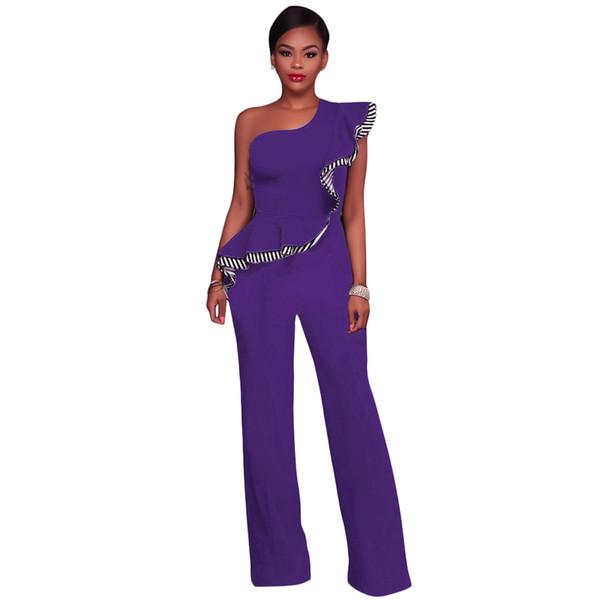 2018 New Fashion Sexy Women Jumpsuit One-Shoulder Ruffles Sleeveless Wide Legs Elegant Casual Romper