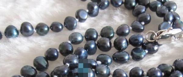 """necklace 46"""" 4-6mm Dark Navy Baroque Freshwater Pearl Necklace"""