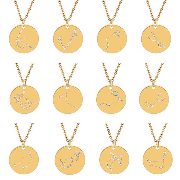 12 zodiac konstellationen kristall anhänger edelstahl münze halsketten choker halskette geburtstagsgeschenk personalisierte kristall leo libra frauen