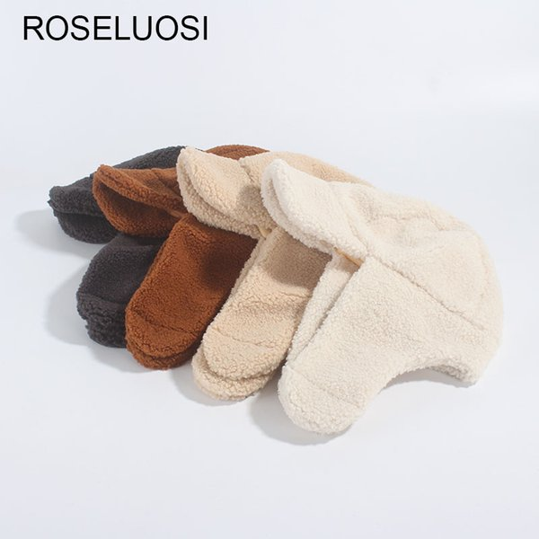 ROSELUOSI Autumn Winter Thick Warm Bomber Hats For Women Solid Color Ear Protection Fur Hat For Ruassia Chapeau Femme