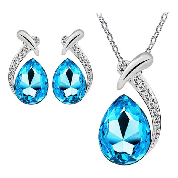 Water Drop Austria Crystal Earrings Necklace Sets Crystal Pendant Silver Plated Chain Necklace Stud Earring Wedding Jewelry Set DHL FREE