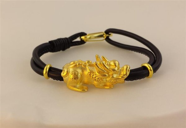 CK008 New Fashion Women Men Couple Jewelry Feng Shui Gold Lucky Pixiu Leather Red Rope Bracelet