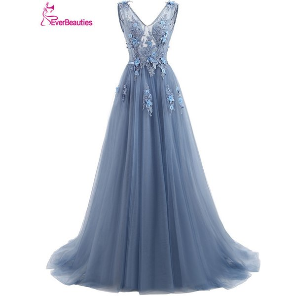 Elie Saab Blue Evening Dresses 2019 Plus Size Tulle Appliques Long Formal Dresses Gowns V Neck Lace Up Sleeveless Robe De Soiree Y19073001