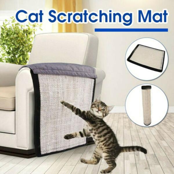 Pet Cat Kitty Scratching Conseil Tapis Canapé Sisal Tapis Protecteur Scratcher avec Bell