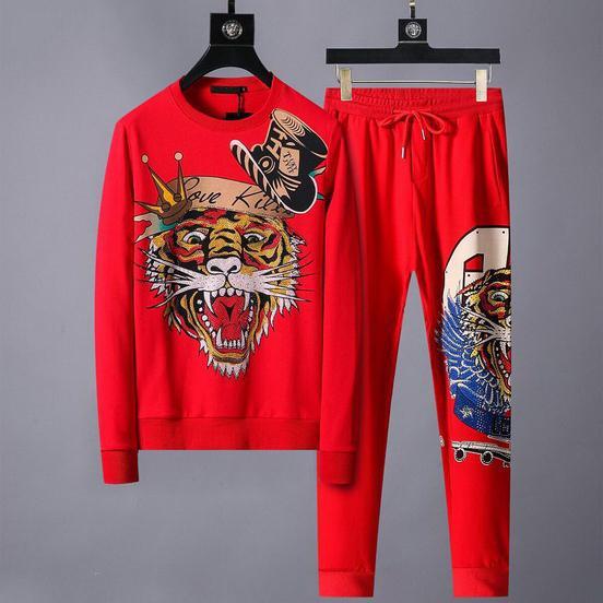 Tute da uomo firmate Tigre modello di marca Kit felpa + pantaloni primavera autunno manica lunga set da corsa sport nero rosso M-3XL CE98231