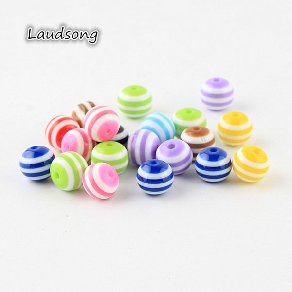 Fashion Jewelry 6 8 10 20mm Mixed Color Striped Charm Resin Beads Round Ball Spacer Beads For Jewelry Making DIY Necklace Findings
