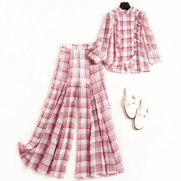 2019 spring fashion new 2piece pants set women casual bohemian style outfits ruffles plaid chiffon wide leg pants suit set