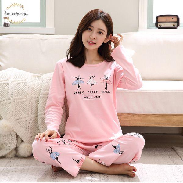 Sleepwear New Cotton Printing Top Long Pant 2 Piece Sets Set Cute Girls L M Pyjama Xl Animal Print Xxxl