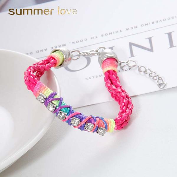Boho Main Tressé Bracelet pour Femmes Taille Réglable Style Ethnique Coloré Fluorescence Corde Tissage Bracelet De Mode Bijoux En Gros