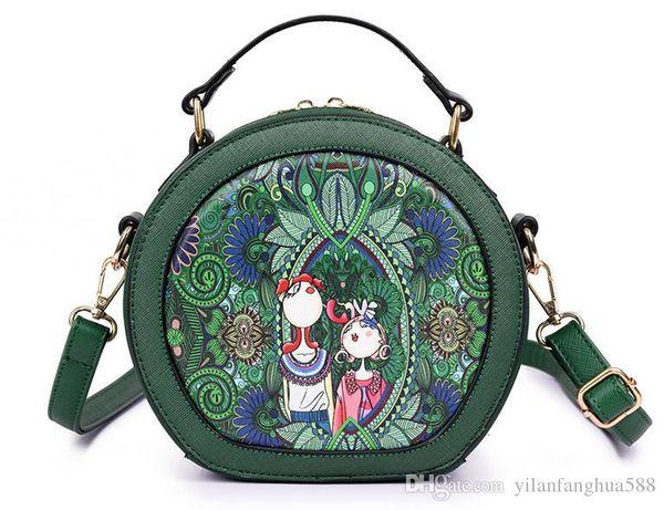 Frühling / Sommer 2018 heiße neue weibliche Tasche Europäische und amerikanische Mode Walddruck kleine runde Tasche süße shu weibliche einzelne Schulter Gezeitentasche