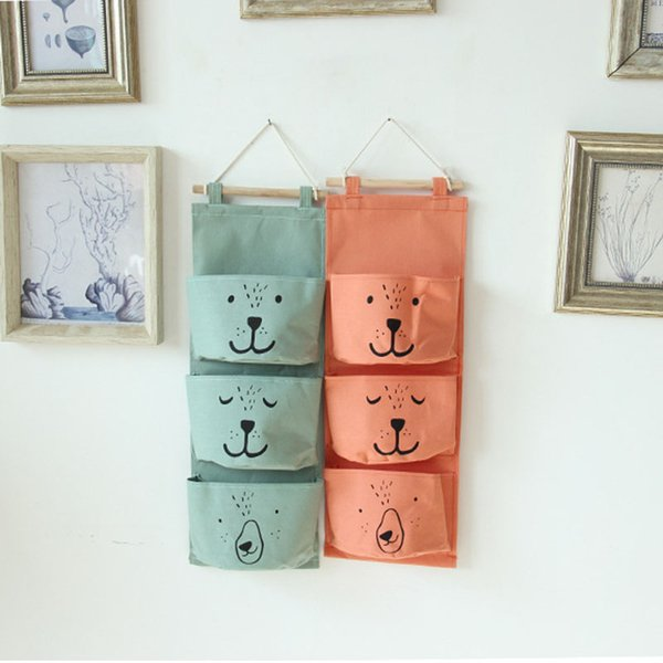 3 Pockets Nordic Wall Hanging Storage Bags Linen Closet Children Organizer Pouch for Toys Books Cosmetic