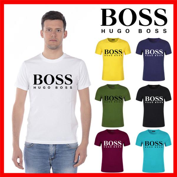 Hommes T Shirt Eté 2019 New Mens Loose Respirant Brand shirt Latter PrintBOSS Tee Marque Fashion Shirt Taille 5XL