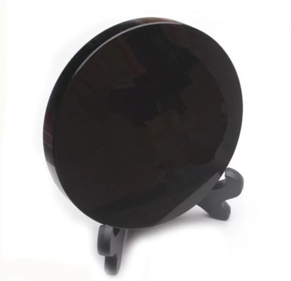 High quality 100% natural black obsidian rock stone circle disk round plate fengshui scrying mirror for home & office decoration
