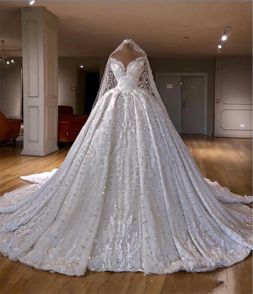 2020 Luxury Sequined Beaded Lace Appliqued Ball Gown Wedding