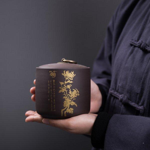 Vaso del tè di vendita calda 2 formati scatole di immagazzinaggio di ceramica Grande Candy Cookie secchi Dado barattolo Contenitore di alimenti Contenitore sigillato per cucina