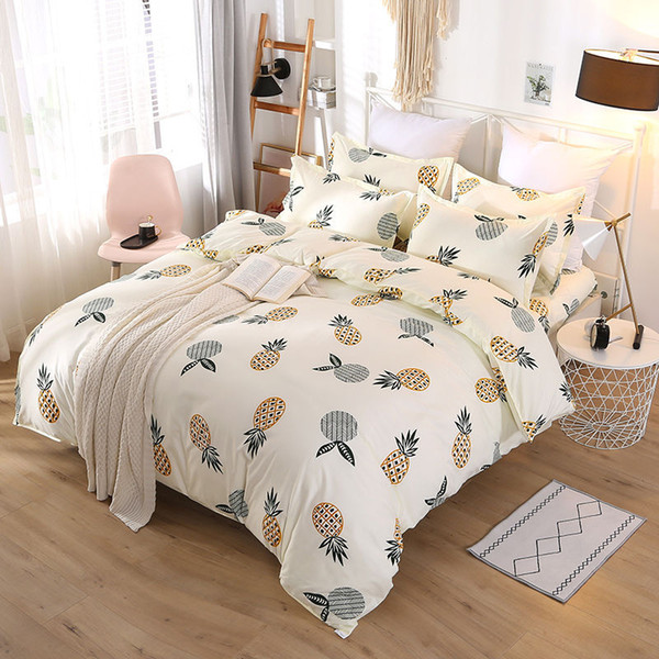 Luxury Style Bedding Sets 4pcs Letter Printed Quilt Cover Sets Fashion Europe and America Bedsheet Cover Suit GGA2233