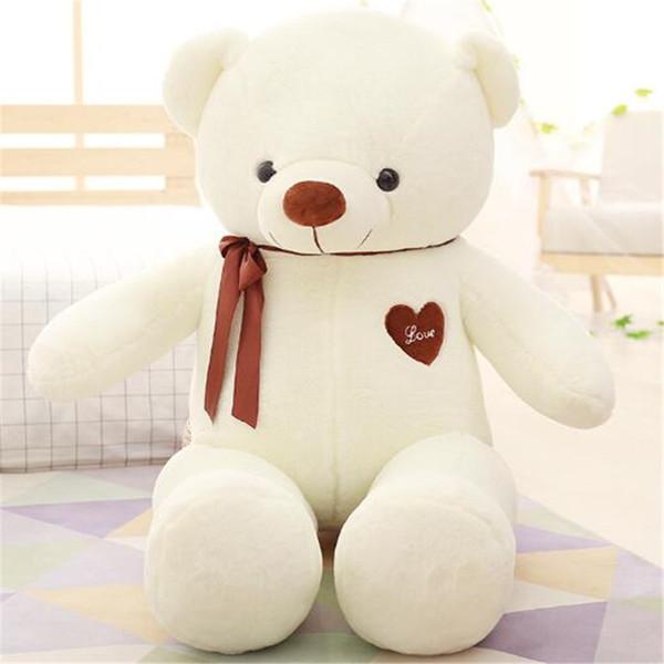 Giant Teddy Bear Stuffed Animals Heart 80cm White Pink for Baby Plush Toys Kids Gift Cute Doll Soft Toy Girlfriend Birthday Love Wholesale