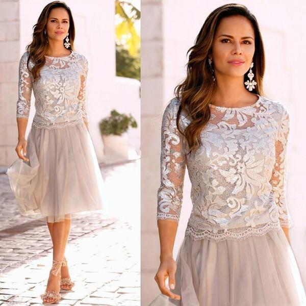 Laço da mãe dos vestidos de noiva 2019 camadas de tule mangas compridas na altura do joelho vestidos de festa de casamento vestidos de uma linha mãe Custom Made