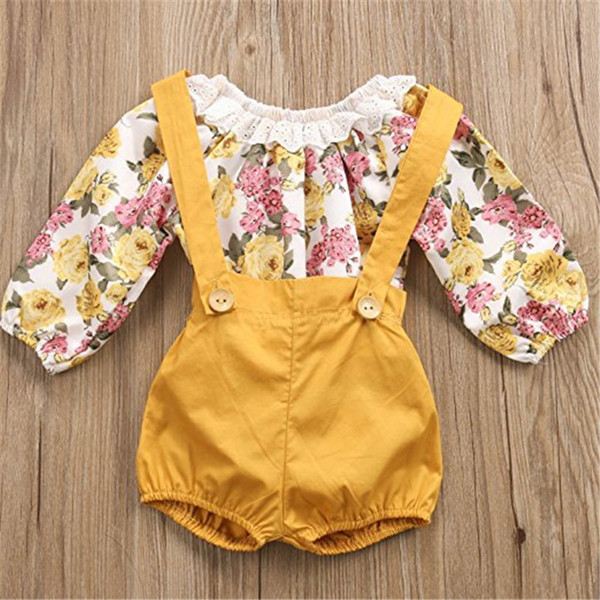 Ins infant Girls Pagliaccetti Shorts Toddler T-shirt a maniche lunghe in pizzo floreale + Ordinary Shorts 2 pezzi Onesies Kids Baby Boutique Outfit A41703