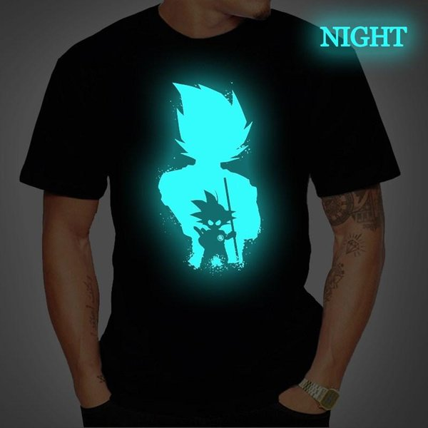 Dragon Ball Mens T Shirt Super Saiyan Vegeta Goku Luminous T Shirts Short Sleeve Tee Tops Femme Streetwear T Shirt Plus Size Interesting Tee Shirts