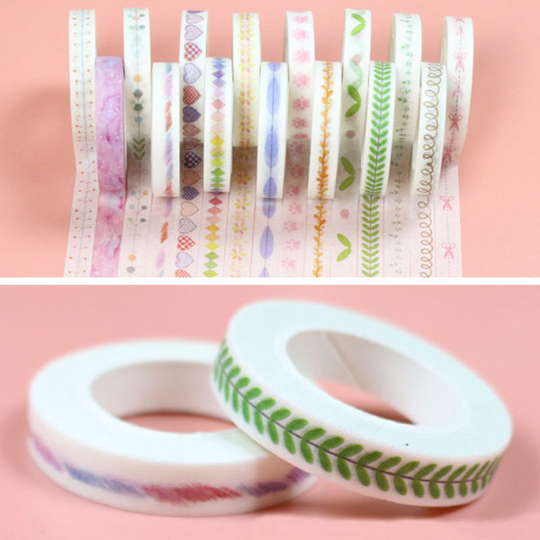 DIY Scrapbooking Çıkartma Etiket Bant Dizüstü Dekoratif Yapıştırıcı Bant Yaratıcı Renkli Çiçek Bitkiler Maskeleme Bandı Okul Ofisi BH2530 TQQ