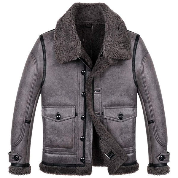 Herren B3 Shearling Fliegerjacke Stärkste Kälteschutzjacke für Herren Warmer Mantel Kurze Schaffelljacke