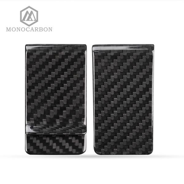 Monocarbon minimalista genuino de carbono Fibra clips del dinero Monederos