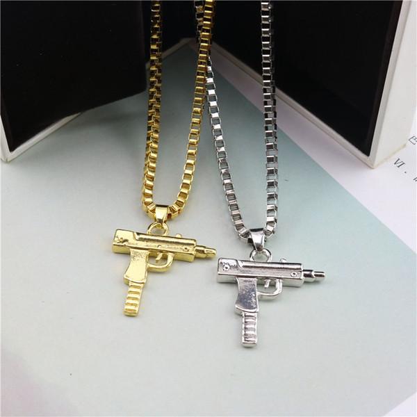Hip Hop Necklaces Engraved Gun Shape Uzi Golden Pendant High Quality Necklace Gold Chain Popular Fashion Pendant Jewelry