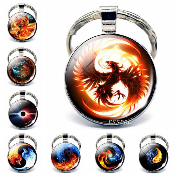 Phoenix Keychain Steampunk Yin Yang Jewelry Glass Cabochon Keyring Metal Fashion Accessories for Men Women Valentines Gift