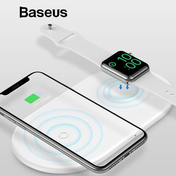 Baseus 2 en 1 Pad de cargador inalámbrico para Apple Watch iPhone X Xs Max XR Desktop Cargador de carga inalámbrico rápido para los fanáticos de Apple