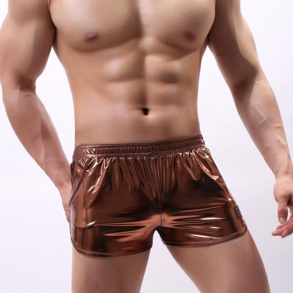 Lencería sexy hombres ropa interior de talla grande cuero modal boxer cueca masculina calzoncillos látex pu button up underwear