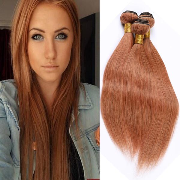 Médio Auburn brasileira Pacotes Cabelo Humano Hetero Virgin extensões do cabelo # 30 Light Brown Weaves Cabelo Humano 3 Pacotes Lot Comprimento Mixed