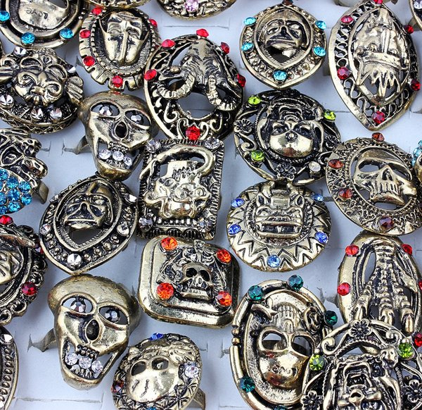 Top Quality Advanced Diverse Alloy Gold-Plated Rhinestone Ghost Head Skull Ring New Mixed 50Pcs Man Charm Luster Rings 7-10