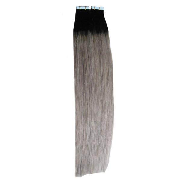 Ombre İnsan Saç Uzantıları Bant 100g Cilt Atkı Saç Bant üzerinde renkli Bant Cilt Atkı saç Uzatma Paket Başına 40 adet