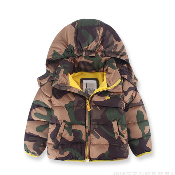 Boys' Winter Coat Puffer Jacket camouflage Cool Hooded Jacket keep Warm Child Zipper Coat for 2-8 years Kids Brand Jacket