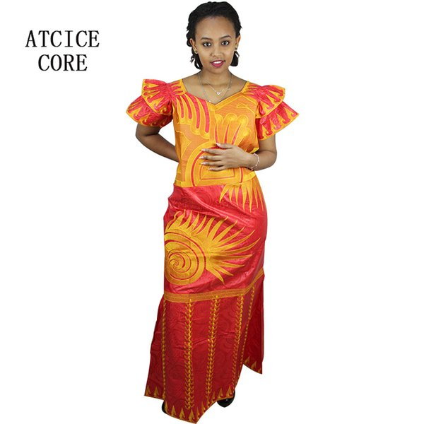 african dresses for women fashion design new african bazin embroidery design dress long dress with scarf two pcs one set A091#
