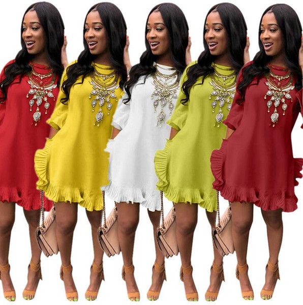 best selling Explosion models European and American women's sexy solid color pleated irregular lotus leaf dress skirt without accessories