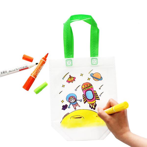 Kids Drawing Graffiti Bag Kindergarten Handbag Toddler Coloring Training Painting Tool Storage bags Christmas Gift Novelty Items GGA1699