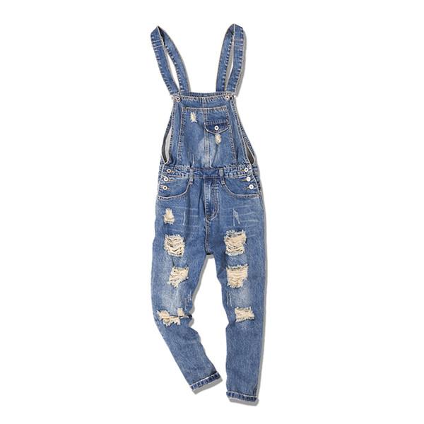 Big Size 5XL Men's Jeans Denim Overalls Fashion Mens Ripped Denim Jumpsuits Jeans Male Skinny Distressed Bib Overalls Jean Pants
