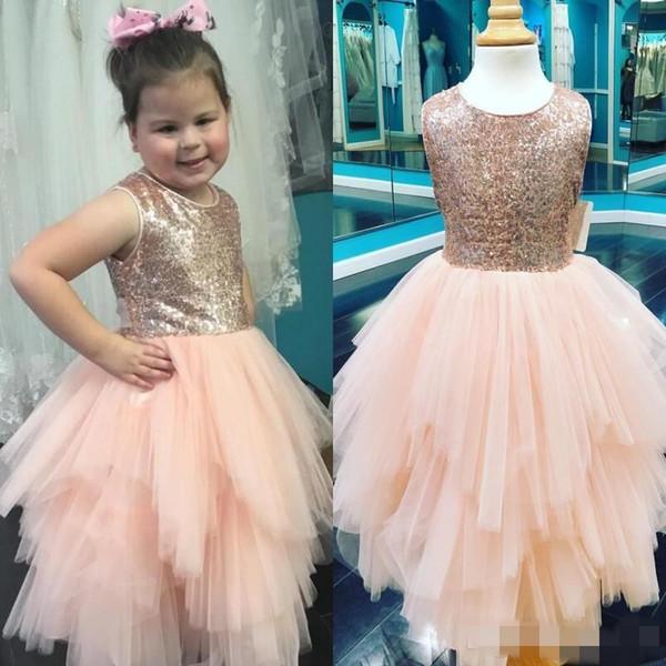 2020 Étincelle or rose robes fille fleur jupe à volants en tulle princesse Jewel Neck manches petite fille de fête d'anniversaire Pageant robe