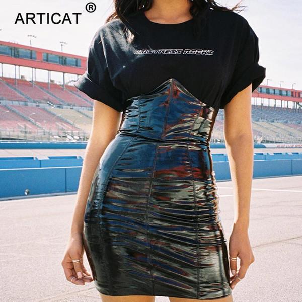 Articat Sexy High Waist Pu Leather Women Black Chest Up Back Zipper Bodycon Mini Skirts Womens Party Pencil Skirt Q190508