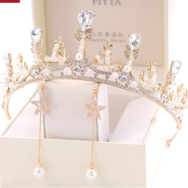 Großhandel In überfluss Braut Eine Krone Hohe Archive Kristall Europäische Goldene Heiraten Kopf Krone Kopfbedeckung Haar Dekorieren Geburtstagsfeier