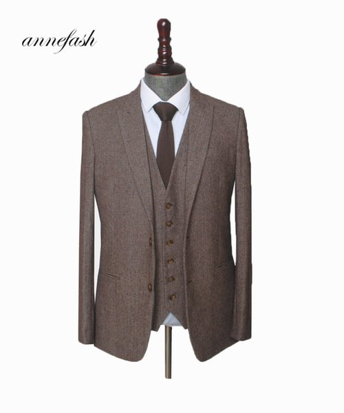 Custom Made Woolen Brown Herringbone Tweed Men Wedding Suit British Style Mens Suit Tailored Plus Size Blazer SuitQ190330