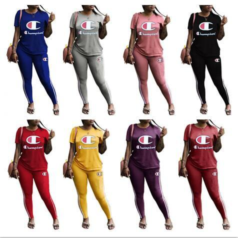Champions Women Clothing 2 Piece Set Tracksuit T-shirts + Leggings Pants Brand Outfits Summer Designer Tracksuits Casual Jogging Suit B3293