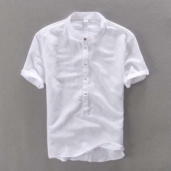 Yaz Keten Gömlek Erkekler Yüksek Kaliteli Rahat Üç Çeyrek Düzenli Kollu Rahat Ince Fit Beyaz Popover Keten Tees Erkek Tops