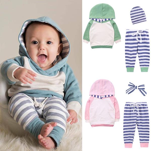 Vestiti per bambini piccoli Set con cappuccio a maniche lunghe + Pantaloni a strisce per il tempo libero + Fascia o cappello 3 pezzi imposta abiti firmati per bambini JY490